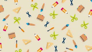 A pattern of colourful stationary icons