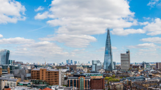 A view of the Shard building in London on a sunny day